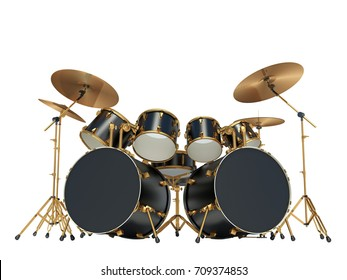 Steampunk style drum kit.  Isolated on white. 3D Render