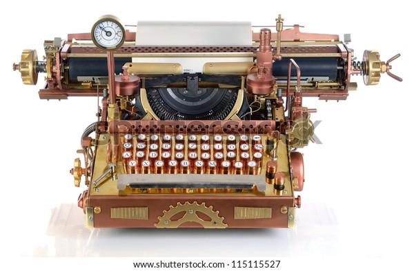 Steampunk Style Future Typewriter Handhome Made Stock Photo