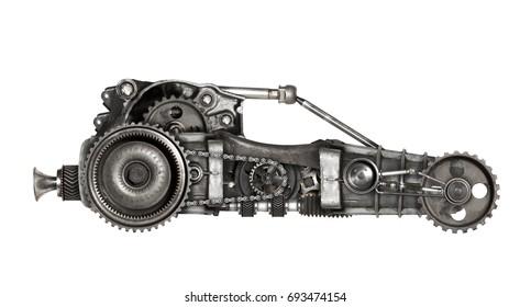 Steampunk style futuristic car. Mechanical photo compilation