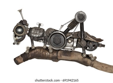 Steampunk style grasshopper. Mechanical animal photo compilation