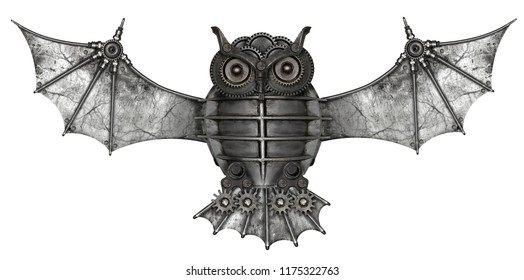 Steampunk style owl.  Mechanical animal photo compilation