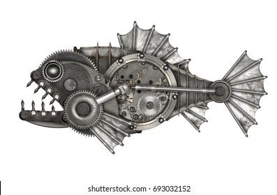Steampunk style piranha. Mechanical animal photo compilation