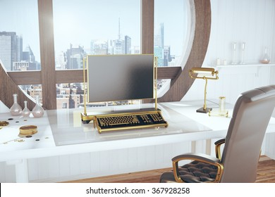 Steampunk style room with vintage typewriter and city view 3D Render