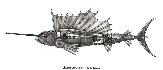 Steampunk style sailfish. Mechanical animal photo compilation