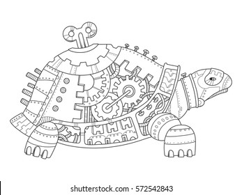 Steampunk style turtle. Mechanical animal. Coloring book raster illustration.