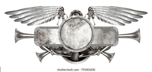Steampunk wings isolated. Old auto spare parts car on the white background