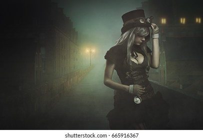 Steampunk woman in misty city.Dark photomanipulation