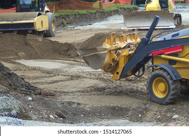 steamroller backhoe and bulldozer excavation construction hydraulic machines