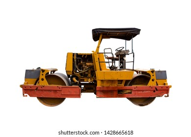 Steamroller isolated on white background with clipping path. Close up of Vibratory Roller Compactor.