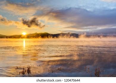 Steamy lake Sunrise
