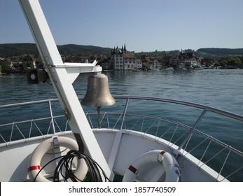 STECKBORN, SWITZERLAND - Aug 23, 2011: Boat trip on the lower Rhine from Konstanz to Stein am Rhein. Bodensee/Lake of Constanze Region. The MS Munot is heading to Steckborn (CH).