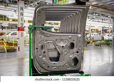Steel and aluminum doors lie ready to be installed at GM's Chevrolet Silverado and GMC Sierra pickup truck plant in Fort Wayne, Indiana, U.S., July 25, 2018.
