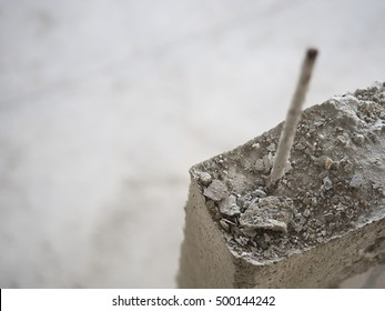 Steel bar in under construction house, selective focus