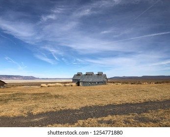Steel barn building covering the geothermal hot springs at Summer Lake in South Central Eastern Oregon.