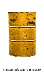 steel barrel oil yellow rusty, barrel oil waste, toxic tank drum, metal barrel old pour, barrel oil yellow or gold old isolated on background white