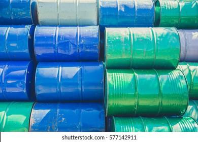 Steel barrel tank or oil fuel toxic chemical barrels old Rusty Danger feeling color tone.