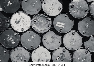Steel barrel tank or oil fuel toxic chemical barrels old Rusty Danger black and white color tone.