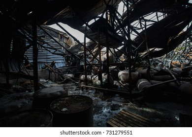 Steel barrel tank or oil fuel toxic chemical barrels After Fire in oil Factory