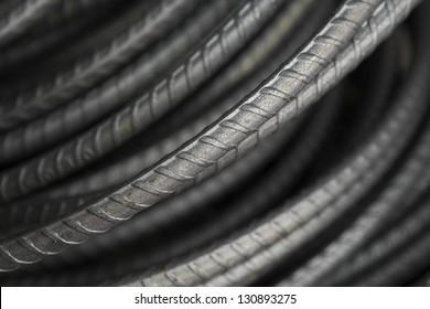 Steel bars close- up background. Reinforcing bar background