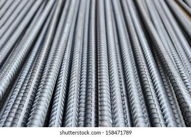 Steel bars close- up background. Reinforcing bar background.