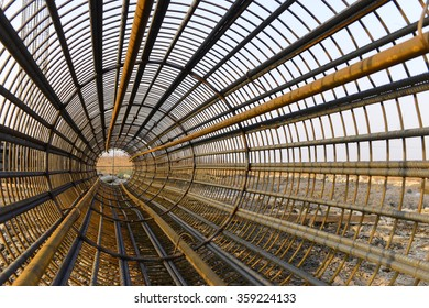 Steel bars in the construction site