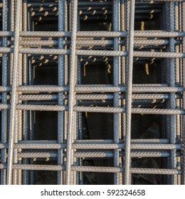 Steel bars reinforcement on construction site, Grid of Steel bars reinforcement texture