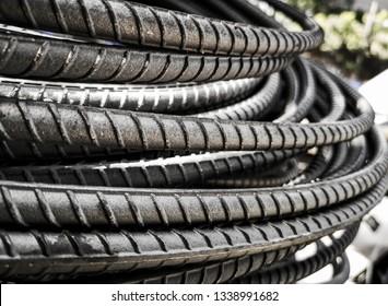Steel bars used in concrete reinforcement.