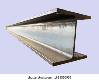 Steel beam beams isolated on gray background