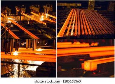 Steel Billets at Torch Cutting. Collage of pictures