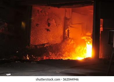 Steel blast furnace taphole spewed molten iron