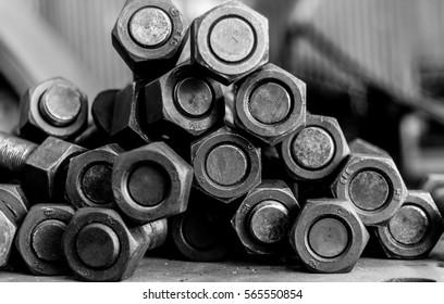 Steel bolt, Black and white photo.
