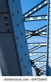 Steel bridge across the river,construction detail