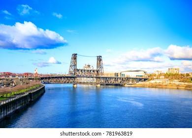 Steel bridge across Willamette river in Portland, Oregon