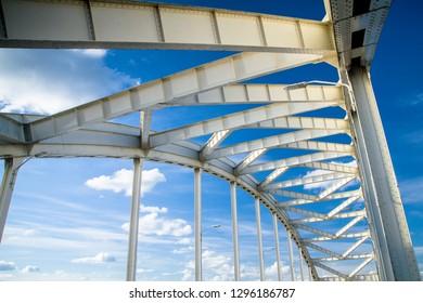 Steel bridge construction against a blue sky