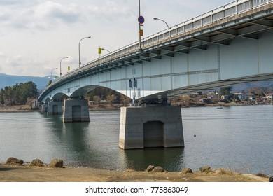 Steel bridge cross the river in Japan
