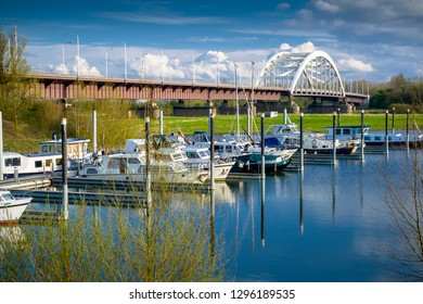 Steel bridge crossing the river Maas, The Netherlands