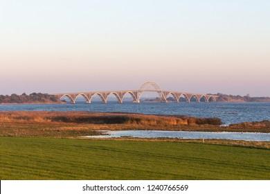 steel bridge leading to the Island of Moen in Denmark