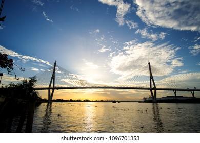 Steel bridge over the Chao Phraya River,Bangkok, Thailand, Vintage Style