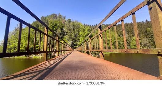 steel bridge over Modre Lake