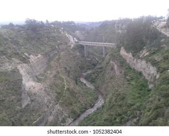 Steel bridge and river, Chiche - Ecuador