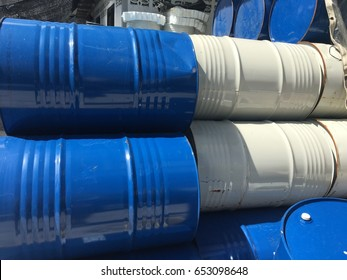 Steel bucket for chemical container.