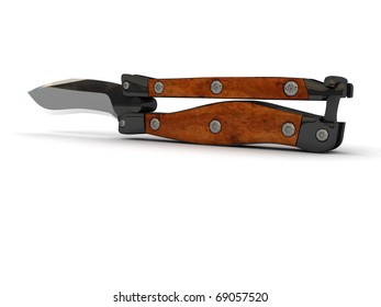 Steel butterfly knife (balisong) on white background, partially opened handle
