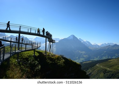 Steel catwalk round the The First top station above Grindelwald, Switzerland