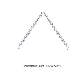 Steel chain for hanging wood sign or picture frame isolated on white background with clipping path