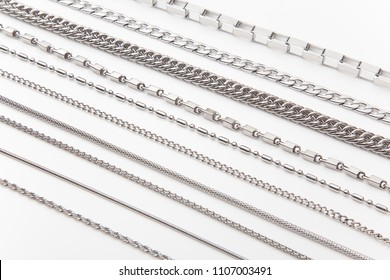 Steel chain set in white background