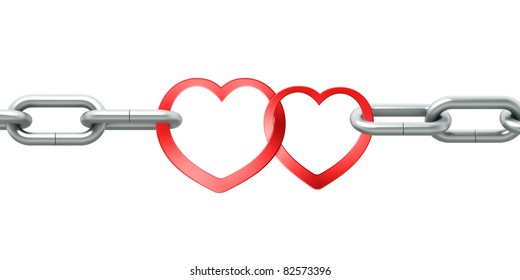 Steel chain with two joined red hearts on white background