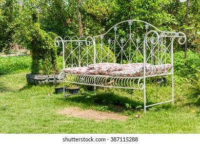 Steel chair in the garden