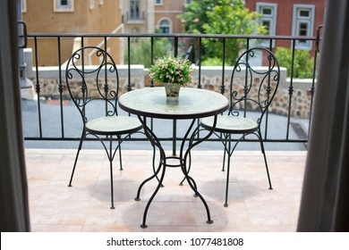 Steel chair set Living on the balcony