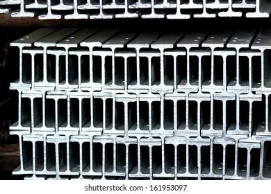 Steel channel bunch in warehouse