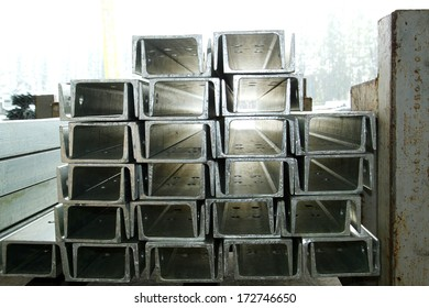 Steel channel bunch in warehouse before shipment